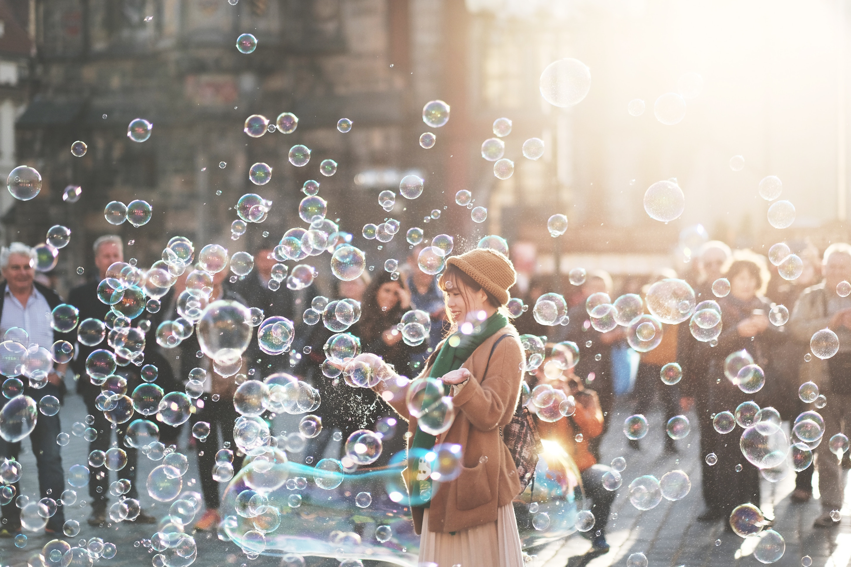 customer experience, bubbles, people, crowd