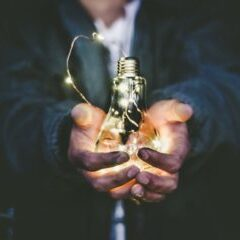 light bulb in hands